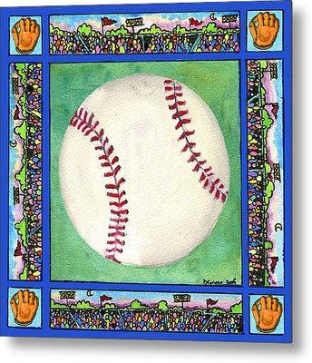Baseball Metal Print by Pamela  Corwin
