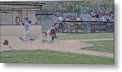 Baseball Runner Safe At Home Digital Art Metal Print by Thomas Woolworth