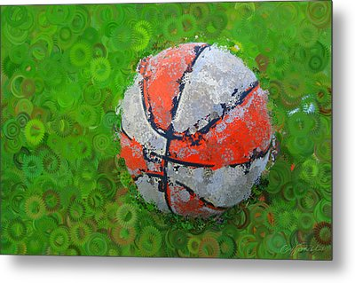 Basketball Orange White Green Abstract Metal Print by Geoff Strehlow
