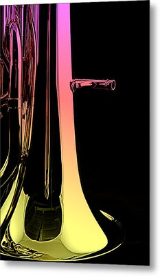 Bass Tuba Isolated On Black Metal Print by M K  Miller