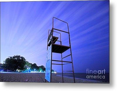 Beach At Night Metal Print by Charline Xia