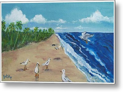 Beach Birds Metal Print by Paintings by Gretzky