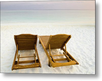 Beach Chairs, Maldives Metal Print by Ulana Switucha