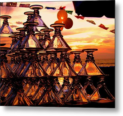 Beach Glass Reflections Metal Print by Cindy Wright