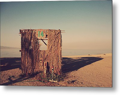 Beach Hut Number Fourteen Metal Print by Laurie Search