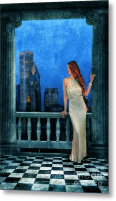 Beautiful Woman In Evening Gown With City Night View Metal Print by Jill Battaglia
