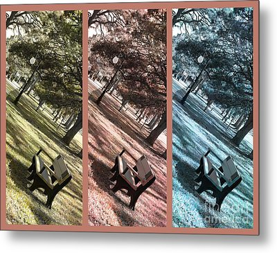 Bench In The Park Triptych  Metal Print by Susanne Van Hulst