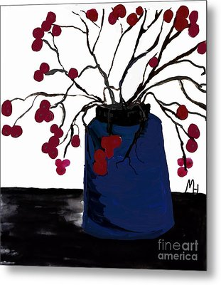 Berry Twigs In A Vase Metal Print by Marsha Heiken