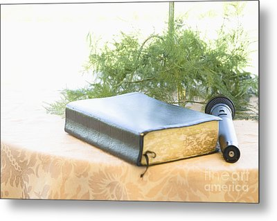 Bible And Microphone On Table Metal Print by Ned Frisk