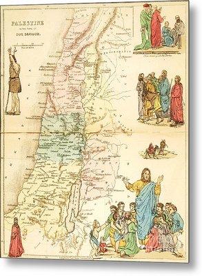 Biblical Map Palestine Metal Print by Pg Reproductions