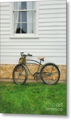 Bicycle By House Metal Print by Jill Battaglia