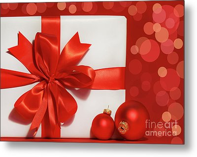 Big Red Bow On Gift  Metal Print by Sandra Cunningham