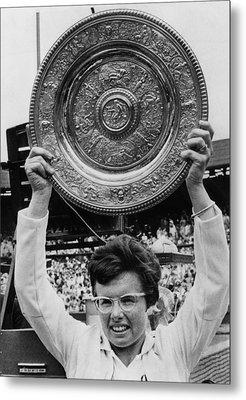 Billie Jean King Holding Wimbledon Metal Print by Everett