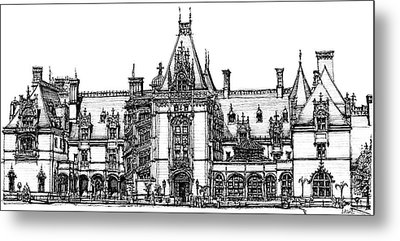 Biltmore House In Asheville Metal Print by Building  Art