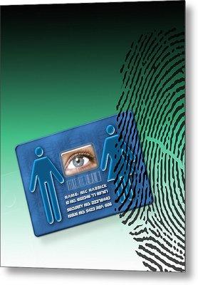 Biometric Id Card Metal Print by Victor Habbick Visions
