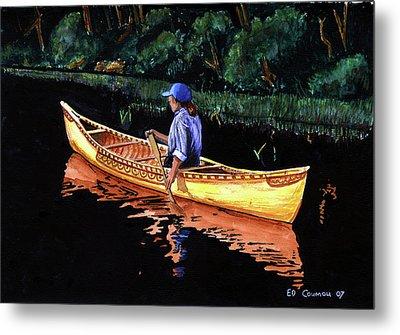 Birch-bark Canoe Metal Print by Edward Coumou
