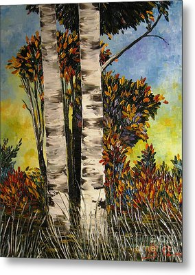 Birches For My Friend Metal Print by AmaS Art