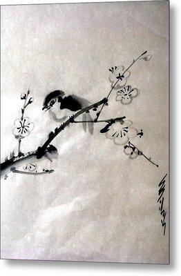 Bird In Plumtree Metal Print by Sid Solomon