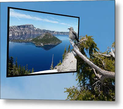 Birds Eye View Of Crater Lake Metal Print by Cindy Wright
