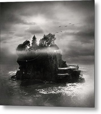 Birds Flying Over Island Metal Print by The ethereality