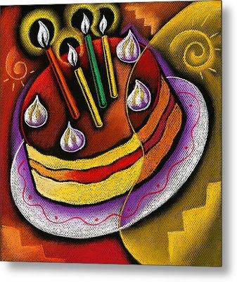 Birthday  Cake  Metal Print by Leon Zernitsky