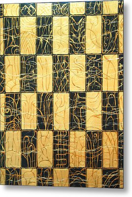 Black And Gold Japanese Checkered Pattern Metal Print by Kazuya Akimoto