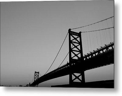 Black And White Bridge Metal Print by Bill Cannon