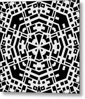 Black And White Kaleidoscope Metal Print by David G Paul