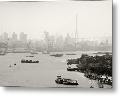 Black And White Of Cranes And River Traffic Metal Print by Jeremy Woodhouse