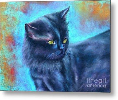 Black Cat Color Fantasy Metal Print by Gabriela Valencia