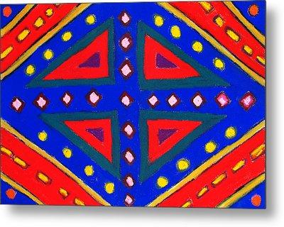Blue And Red Ornamental Pastel Diamond Pattern Metal Print by Kazuya Akimoto