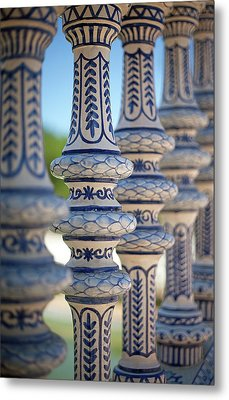 Blue And White Ceramic Fence Metal Print by Kim Haddon Photography