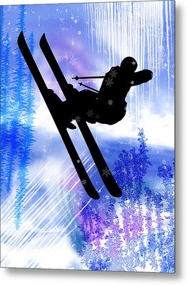 Blue And White Splashes With Ski Jump Metal Print by Elaine Plesser