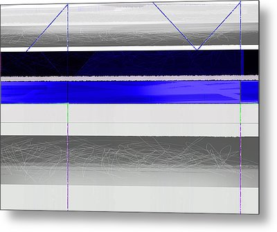 Blue And White Stripes Metal Print by Naxart Studio