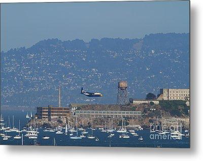 Blue Angels Fat Albert C130t Hercules Across San Francisco Alcatraz . 7d7937 Metal Print by Wingsdomain Art and Photography