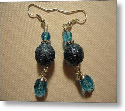 Blue Ball Sparkle Earrings Metal Print by Jenna Green