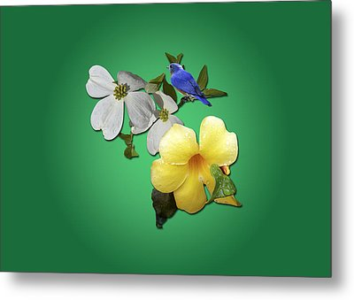 Blue Bird And Blooms Metal Print by Larry Bishop