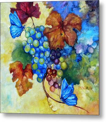 Blue Butterflies And Grapevine  Metal Print by Peggy Wilson