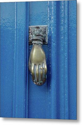 Blue Door With Brass Hand Knocker, France Metal Print by Jennifer Steen Booher