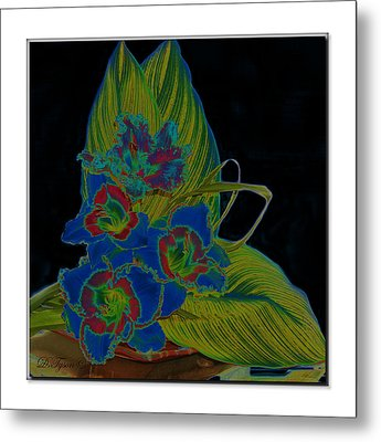 Blue Floral  Metal Print by Diana  Tyson
