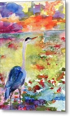 Blue Heron Sunset Watercolor By Ginette Metal Print by Ginette Callaway