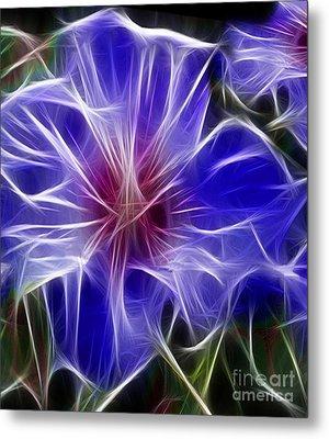 Blue Hibiscus Fractal Panel 3 Metal Print by Peter Piatt