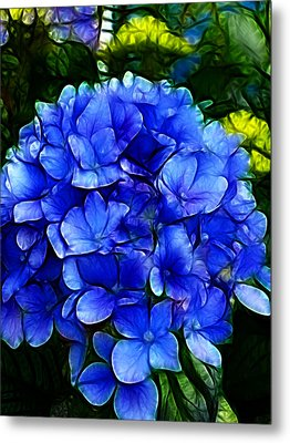 Blue Hydrangea Abstract Metal Print by Cindy Wright