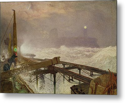 Blue Lights - Teignemouth Pier Metal Print by Alfred William Hunt