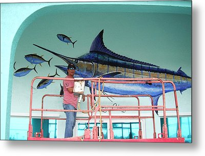 Blue Marlin Motors Mural Metal Print by Carey Chen