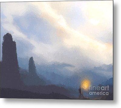Blue Mountains  Metal Print by Pixel  Chimp