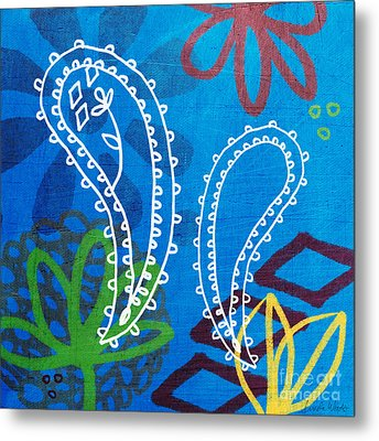 Blue Paisley Garden Metal Print by Linda Woods