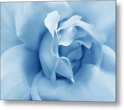 Blue Pastel Rose Flower Metal Print by Jennie Marie Schell