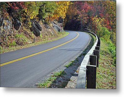 Blue Ridge Parkway Autumn Road Metal Print by Bruce Gourley