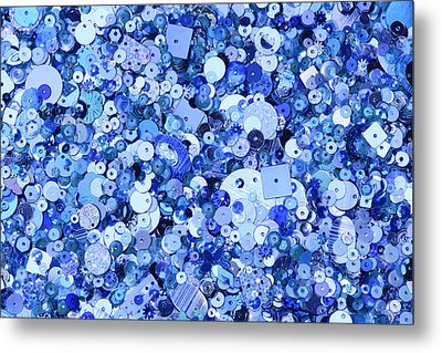 Blue Sequins Of Various Shapes And Sizes Metal Print by Andrew Paterson